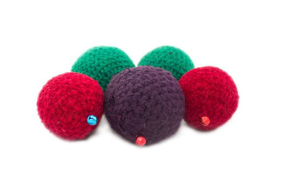 Organic catnip filled eco cat ball toys  big set of by FoxyTricks