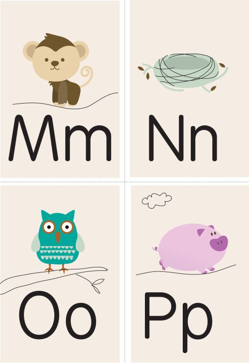 FLASHCARD PRINTABLES - Free Pretty Printables (could be fun to decorate a nursery with these!)