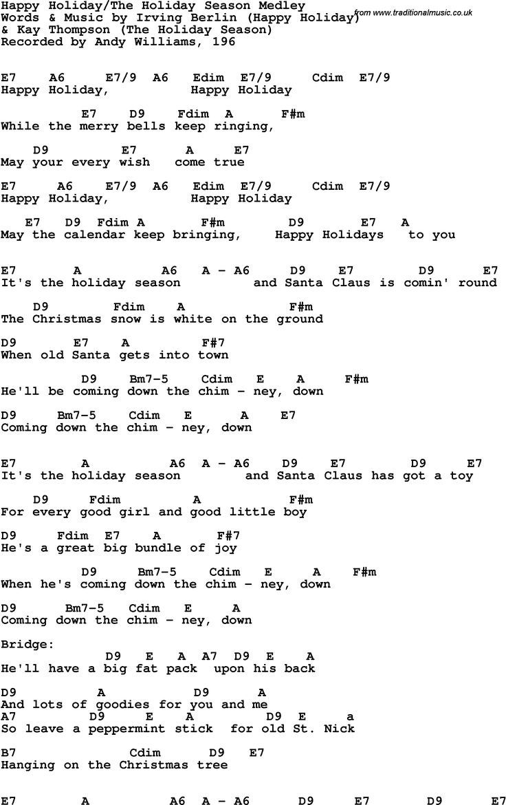 (((copyrghted material))  Happy Holidays lyrics by Irving Berlin -recorded by Andy Williams.