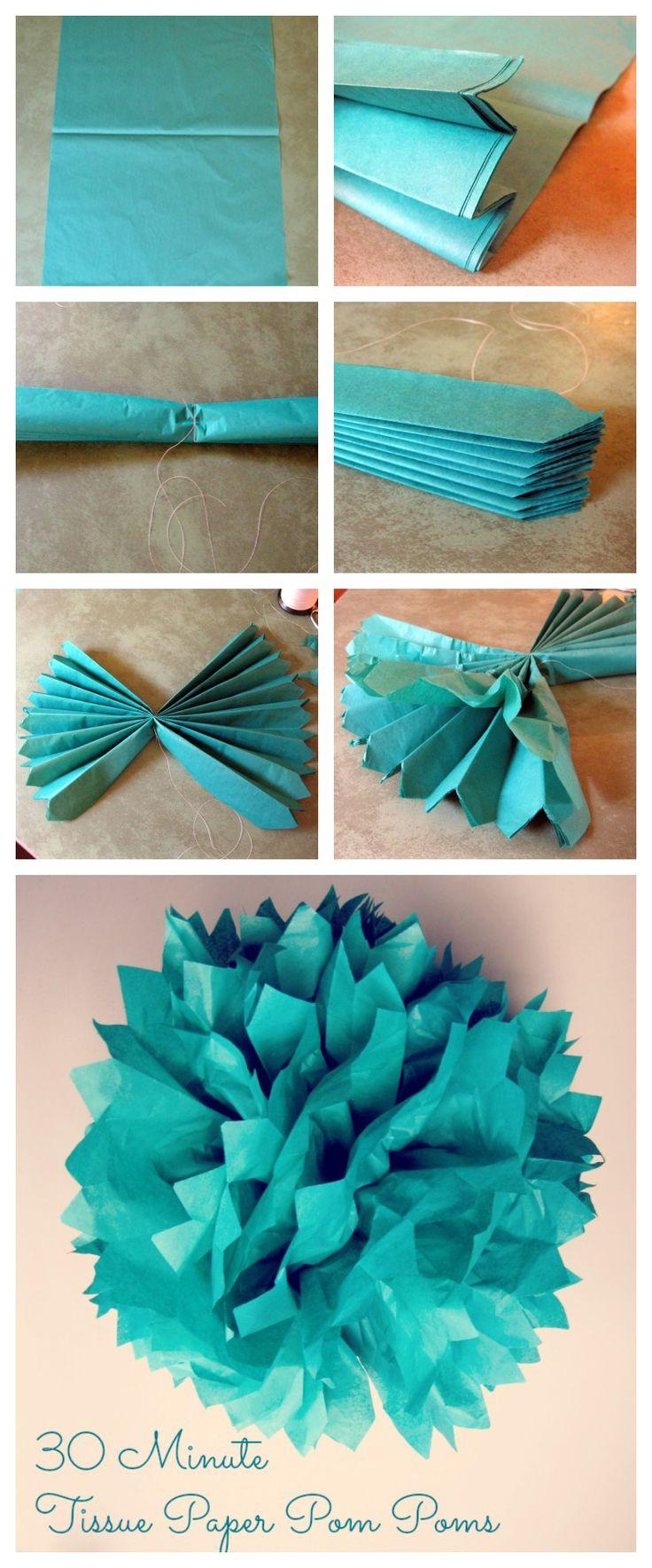 30 Minute Tissue Paper Pom Tutorial