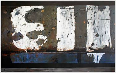 """113 large 1.9m wide painting, oil and acrylic on canvas at Saatchi Art done as part of an exhibition circa 2010 """"A walk around the Balmain foreshore"""", and was exhibited at Dank St Gallery in Sydney. The painting depicts wharf 113 and shows the weathered number on concrete set in its corroded blue steel frame with its rusted drain pipe. While the subject appears abstract once the image is explained it is in fact realism."""