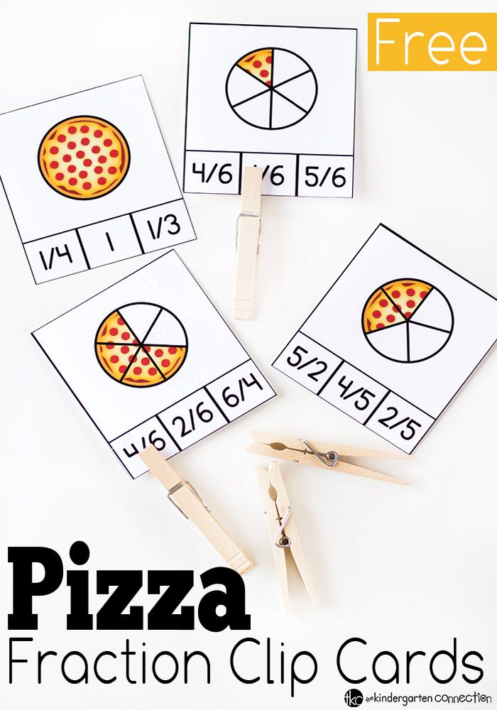 pizza fraction clip cards - Fun Activities To Print