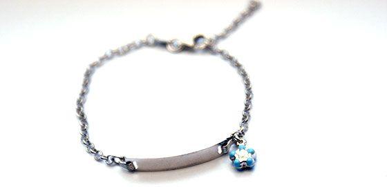 Blue Daisy identity i.d. bracelet.  Find it at www.giftedmemorijewellery.com.au