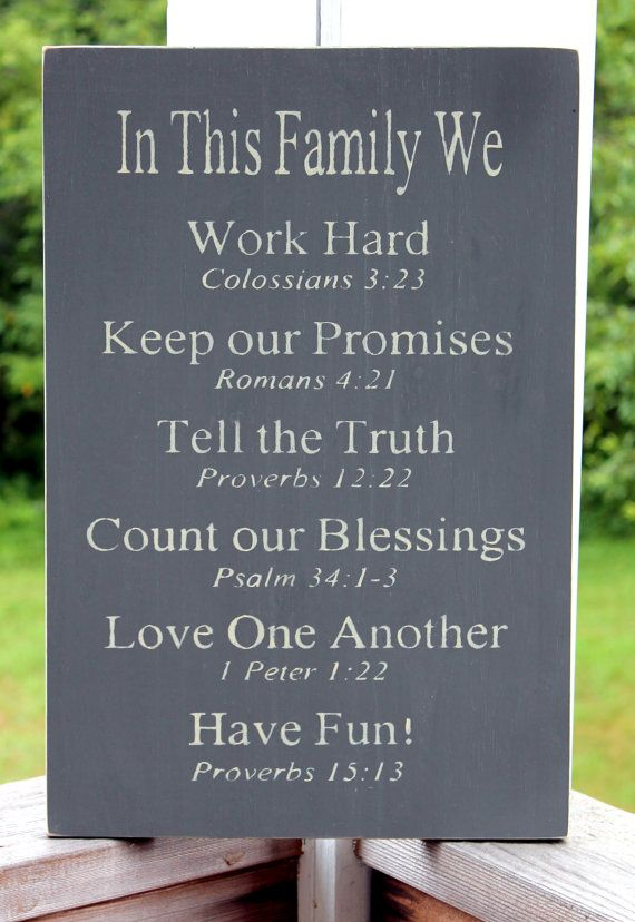 Christian Family Rules Sign - I've always liked the Family Rules signs, I LOVE the idea of adding Scripture backing!  I think this will be my Fall project!