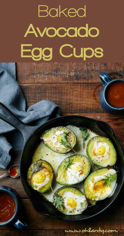 Fuel up your morning with a high fat and high protein breakfast like these delicious Baked Avocado Egg Cups - Dairy Free, Gluten Free, Paleo - a perfect way to start your morning! - Oh Lardy