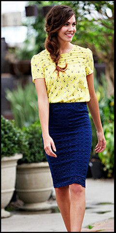Perfect Summer Lace Pencil Skirt (Navy)