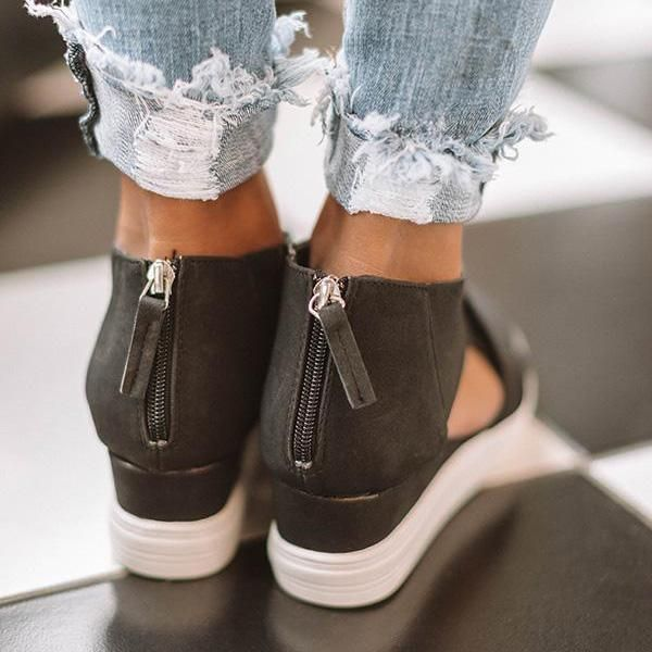 Wedge sneakers, Leather wedge sandals