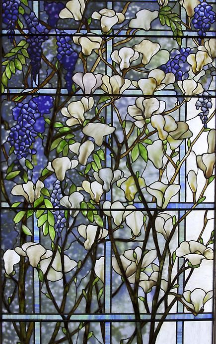 Stained Glass - Magnolia and Wisteria, Tiffany Studios   JV