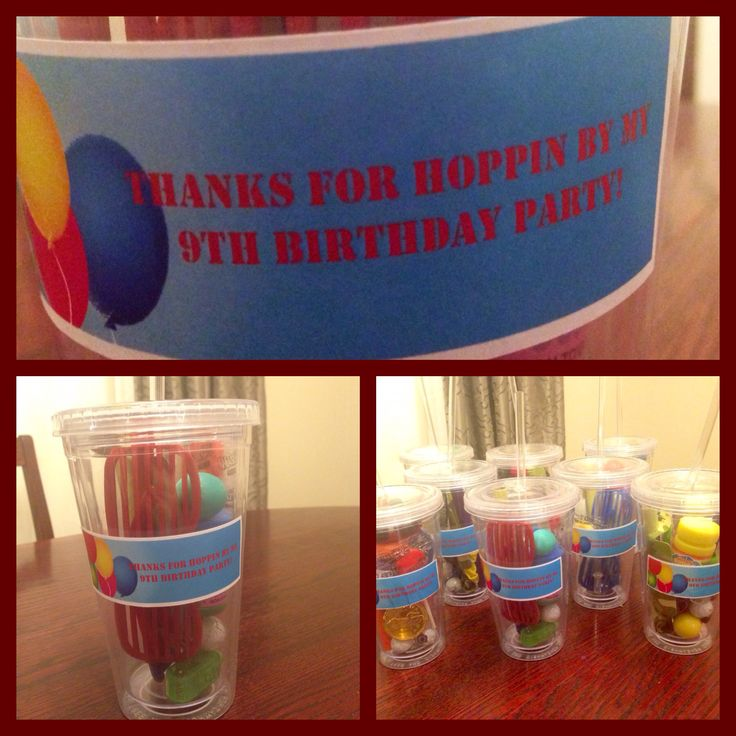 Goodie cups for 9th birthday party at trampoline park                                                                                                                                                                                 More