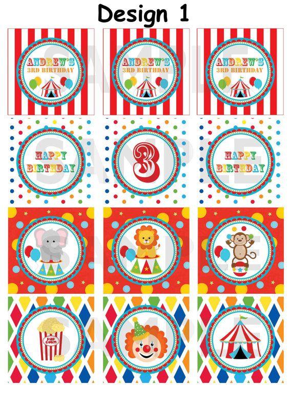 Personalizada circo carnaval Big Top cumpleaños fiesta Cupcake Toppers etiquetas/etiquetas engomadas (partidos invitación) - impresión Digital
