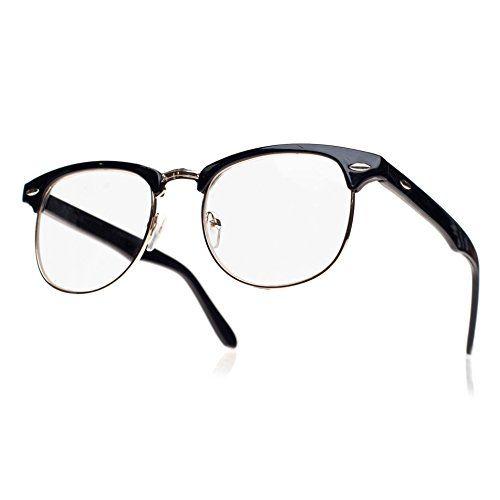 NEW UNISEX (Damen Herren) Retro Vintage Brille CLEAR LENS Saubere Linsen WAYFARER Clubmaster Shades Morefaz(TM) (Retro black clear lens)