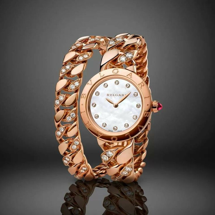 bvlgari catene quartz movement with an pink gold case and gourmette bracelet
