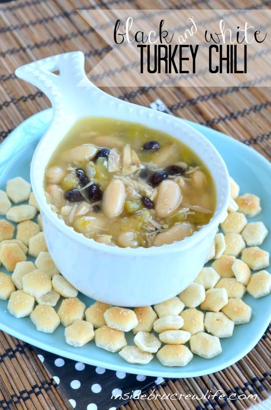 Black & White Turkey Chili - easy spicy soup made with 2 kinds of beans and leftover turkey  #soup #turkey http://www.insidebrucrewlife.com