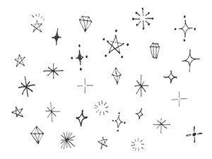 手書きのキラキラ素材のイラスト2種|nancysdesignイラスト部