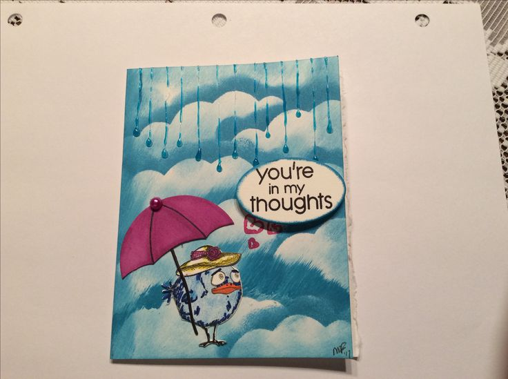 Love this one, my own clouds, rain drops are made from glue gun, then colored with sharpie, Tim holtz crazy bird stamp and die, own umbrella, misc word stamp