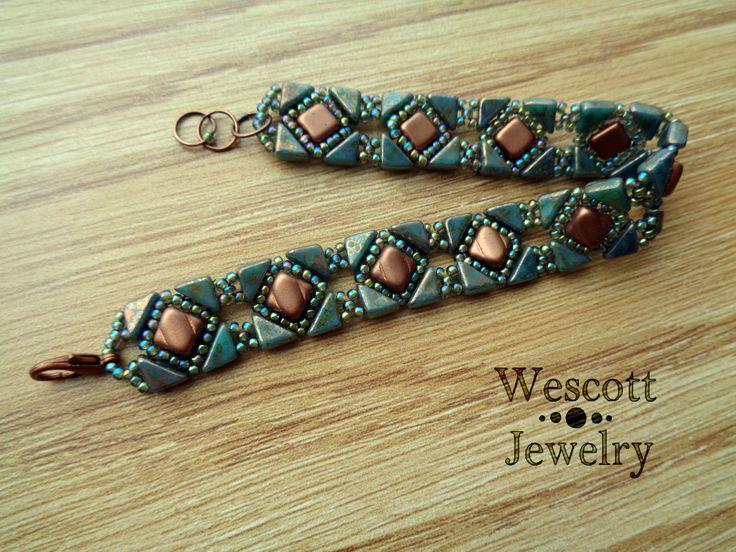 Copper and Emerald Backsplash Bracelet by WescottJewelry on Etsy