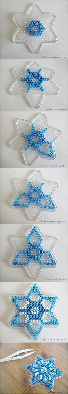 Schneekristall aus Bügelperlen Schneekristalle aus Bügelperlen SIMPLY THE BEST Immer wieder schön, ist das Arbeiten mit Bü...
