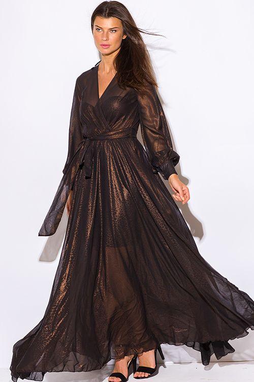 Cute cheap black copper gold metallic chiffon blouson long sleeve formal evening party maxi dress