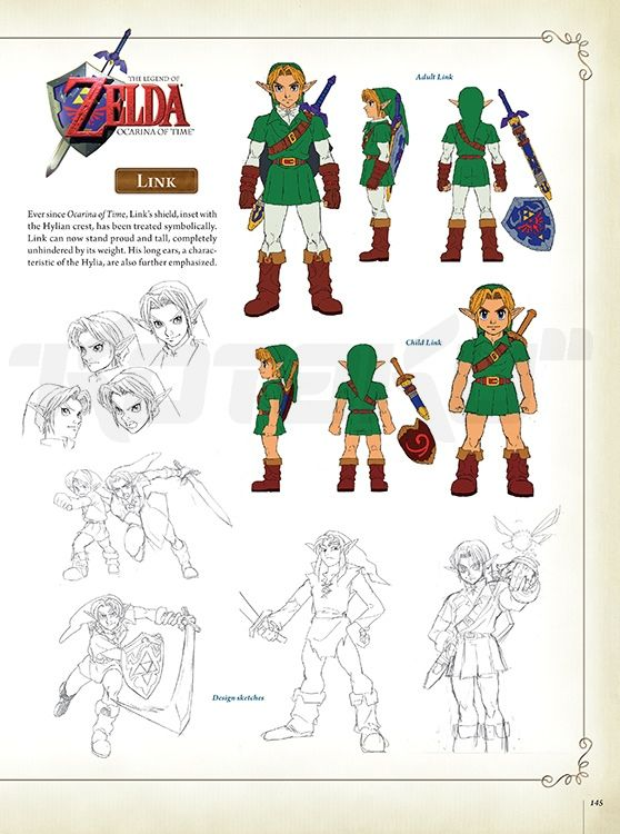 Character Design History : Rare character designs for link from the legend of zelda