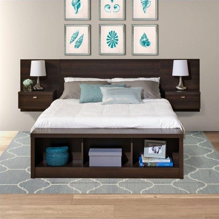 Lowest price online on all Prepac Series 9 Designer Platform Storage Bed with Floating Headboard in Espresso - EBX-EHHX-BED