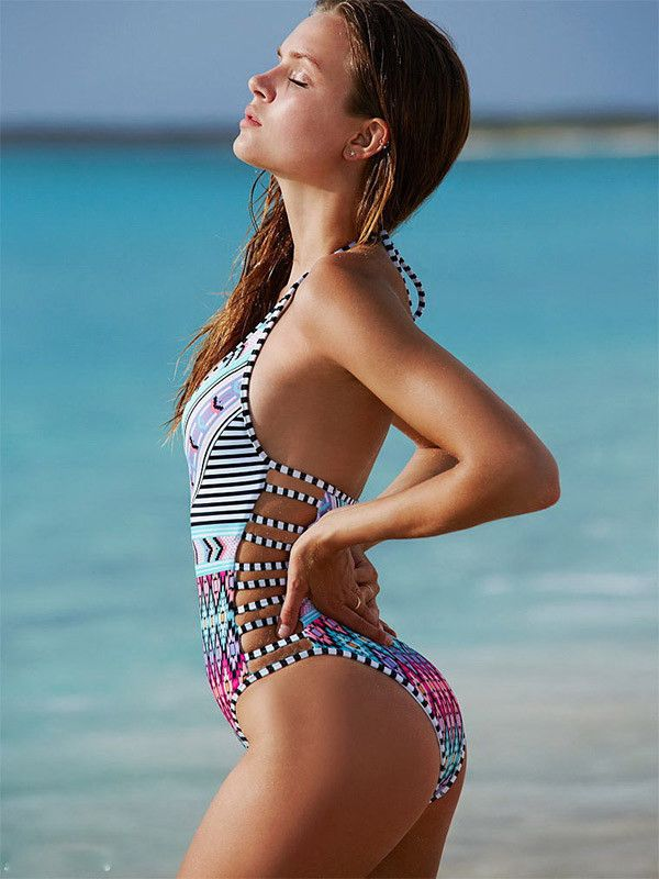 Kiss and Not Tell Halter One-piece Swimsuit - FIREVOGUE