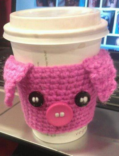 Cute Pig Crochet Coffee Cup cozy Piggy by StitchyFantastic on Etsy, £6.50