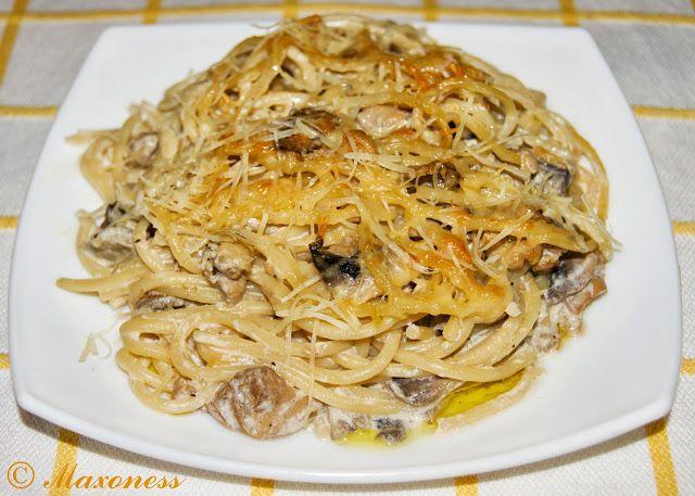 Тетраззини с курицей (паста, запеченная с курицей и грибами) от Джейми Оливера