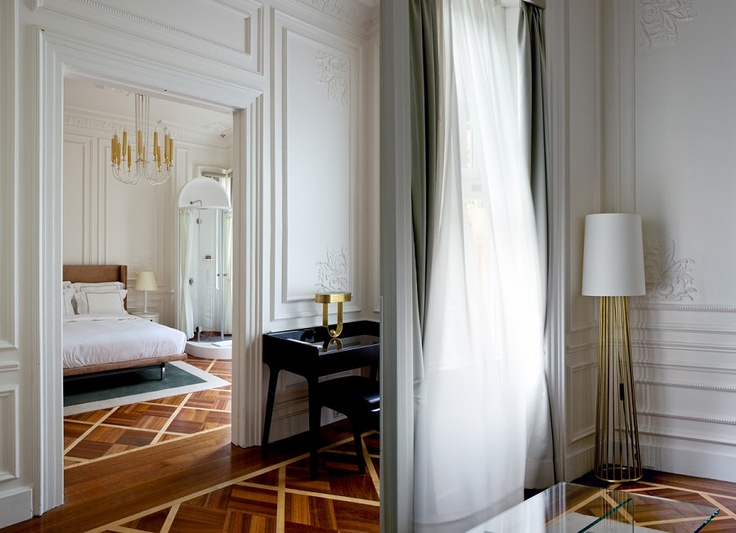 gorgeous floors, walls, curtains, bedding and chandelier