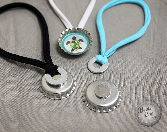Bottle Cap Choker Necklace--with a jump ring attaching instead of washer and magnet