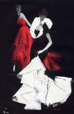 Fashion illustration by René Gruau, 1948, Marcel Rochas & Lucien Lelong, Evening Gown.