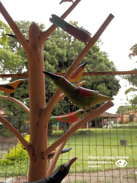 #Boconó. Talla: Árbol de Pajaritos. Tallado por Bernardo Valladares.  Al fondo, parte del jardín del Museo Trapiche de los Clavo