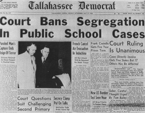 On May 17, 1954, the U.S. Supreme Court Chief Justice Earl Warren hands down an unanimous decision in Brown v. Board of Edu, ruling that racial segregation in public educational facilities is unconstitutional. When Linda Brown was denied admission to her local elementary school, NAACP took up her case and her African American lawyer (and future Supreme Court Justice) Thurgood Marshal led her legal team. This decision served to greatly motivate the civil rights movement of the 50's and 60's.