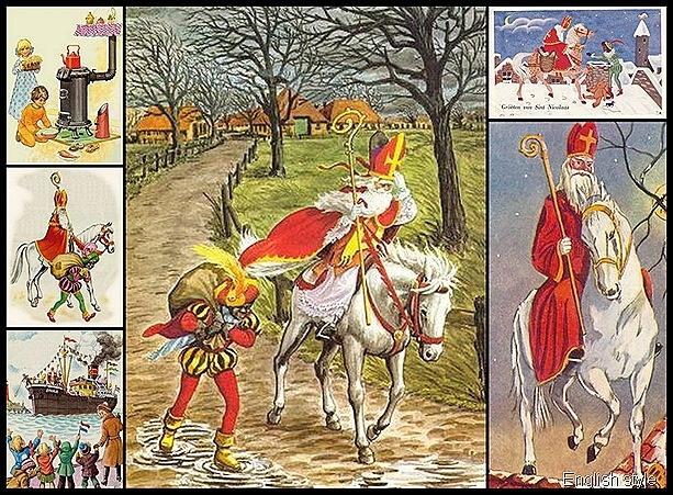Nostalgische ( kerst) kaarten - Sinterklaas and Zwarte Piet !