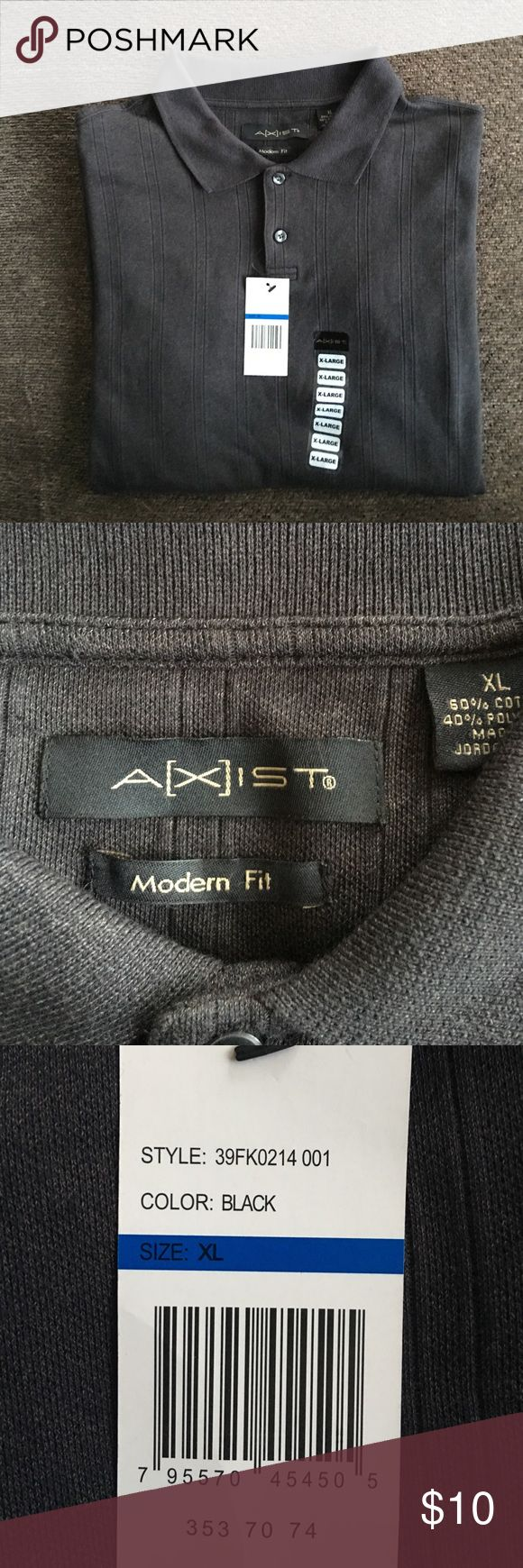 NWT Axist Men's Long Sleeve Polo Brand New Axist Men's Long Sleeve Polo - New With Tags - Modern Fit - 60% Cotton, 40% Polyester - Color: Black Axist Shirts Polos