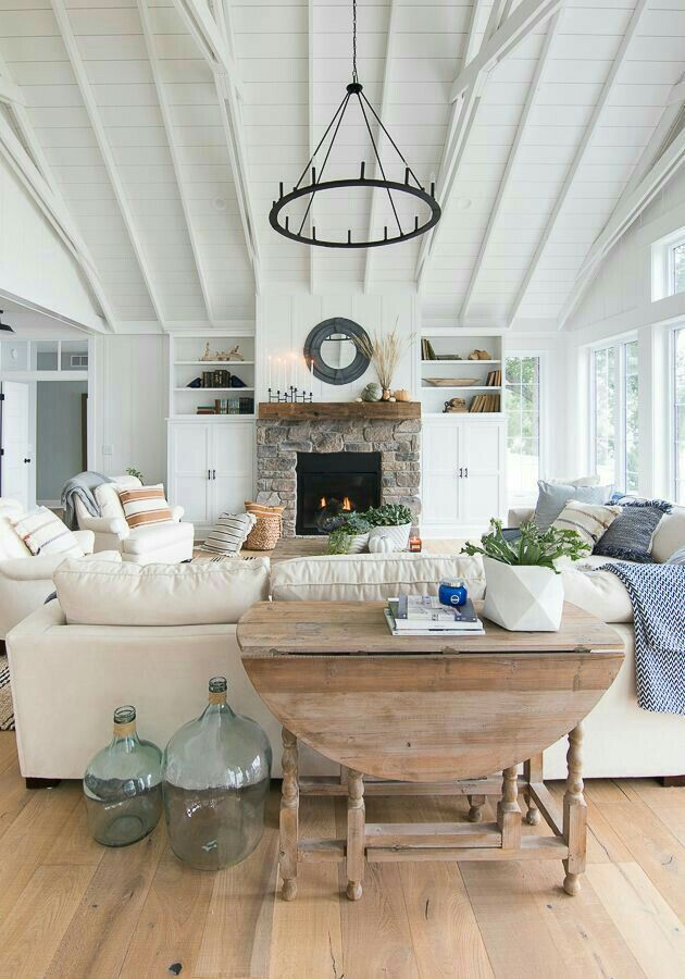 Modern Farmhouse Home Decor Bright And Airy Living Room Painted White Ceiling Beams Black Ch Living Room Flooring Fall Living Room Decor Home Living Room