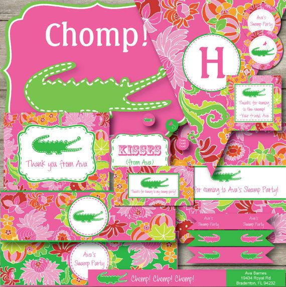 Editable Alligator Party Kit, Changeable Text Gator Swamp Party, Girls Swamp Party, Preppy Alligator Party, Preppy Shower, Alligator Party on Etsy, $13.10 AUD