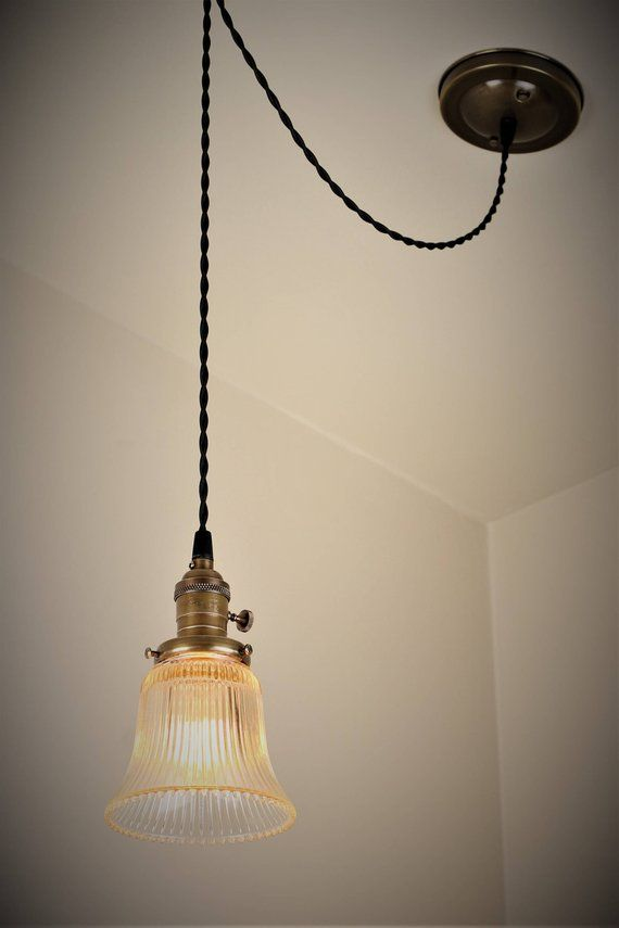 Mini Pendant Light With Clear Gl Vintage Shade Antique
