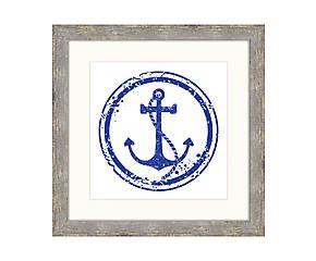 Impression encadrée STENCIL bois, blanc et bleu - 56*56
