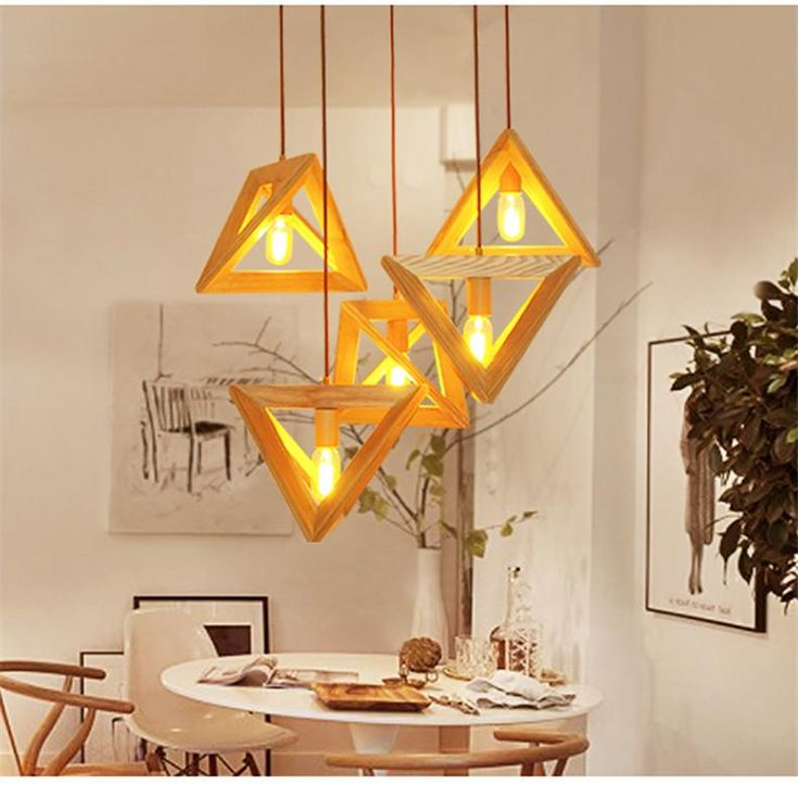 Triangle Prism Solid Wood Pendant Light