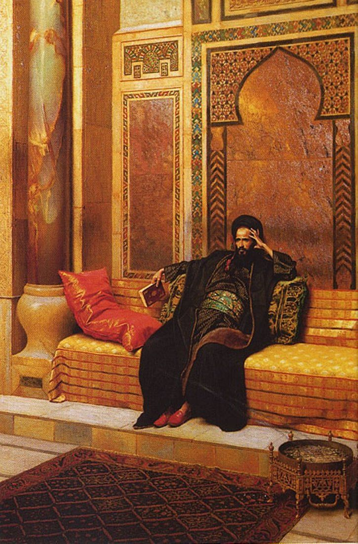 19th century painting of LUDWIG DEUTSCH titled The Learned showing an arab scholar  http://th08.deviantart.net/fs71/PRE/i/2011/009/4/7/arab_philosopher_by_al_brazyly-d36ttdv.jpg