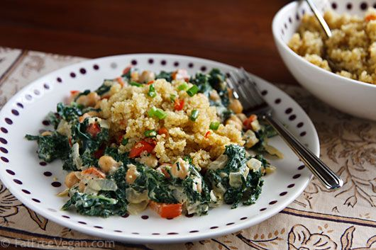 Cosmic Cashew Kale and Chickpeas with Confetti Quinoa #AndersonEatsKale    http://andr.tv/Jw4vIn