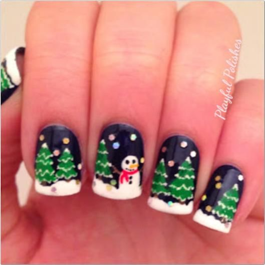 christmas nail art, this could be used at christmas for a christmas party ect