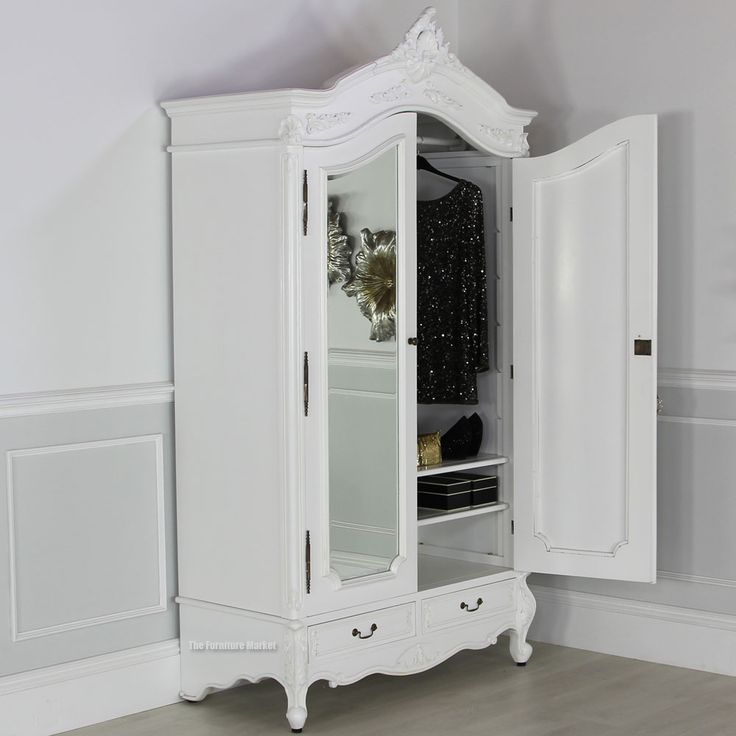 french chateau white painted 2 door mirrored armoire dressing room pinterest french. Black Bedroom Furniture Sets. Home Design Ideas