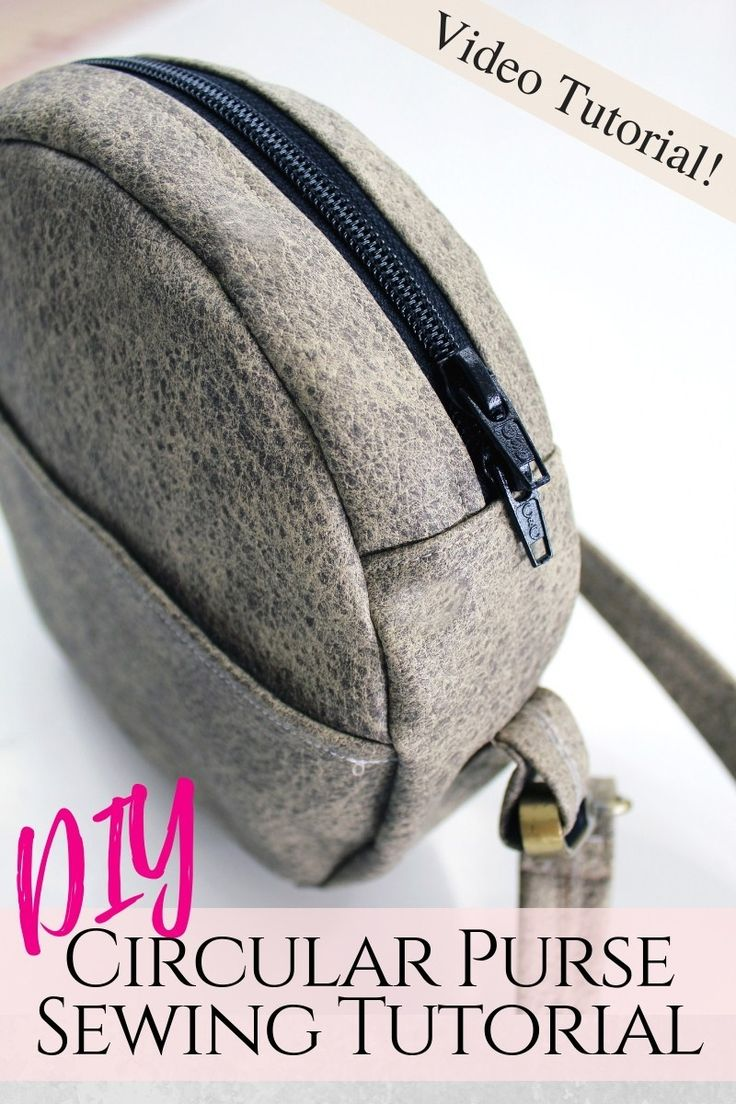How to make a circular purse. Circle bag sewing tutorial with printable pattern. Bag making from leather, faux suede, canvas, and vinyl. #CreativeFashionBlog #sewing #DIYFashion