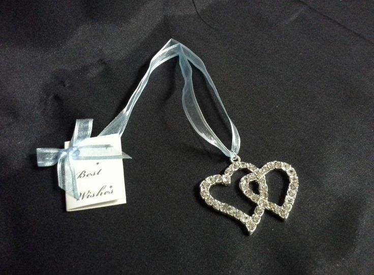 Double Diamante Hearts Blue Ribbon Keepsake