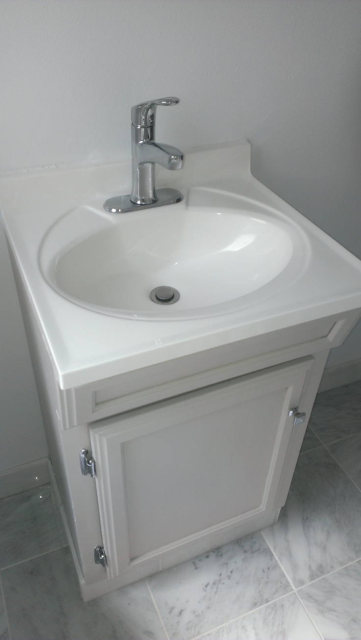 Sharkey Gray Vanity Cabinet Moen Faucet White Cultured Marble Sink Grecian White Tile Floor