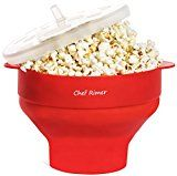 #7: Chef Rimer Microwave Popcorn Popper Sturdy Convenient Handles Healthy No Oil Silicone Red Collapsible Hot Air Movie Theater Aroma Great Popcorn Maker Machine.BPA PVC Free With Lid