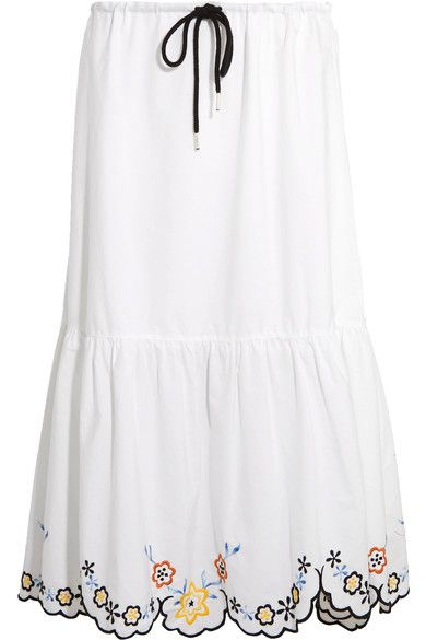 See by Chloé - Scalloped Embroidered Cotton-poplin Midi Skirt - White - FR40