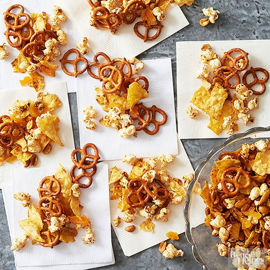 Big bowls of party snacks that guests can dig into by the scoopful make ever-popular holiday appetizers.