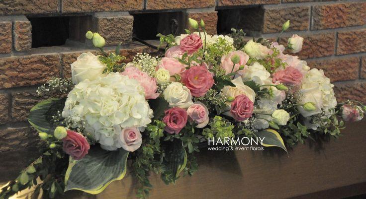 Mantel arrangement :: peonies, hydrangea, lisianthus and garden roses